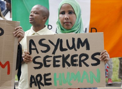 Asylum seekers protesting against planned capacity cuts at the Mosney accommodation centre in 2010.