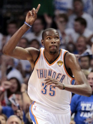 Oklahoma City Thunder small forward Kevin Durant.