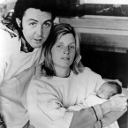 Paul McCartney and his wife, American photographer Linda, pose with their newborn daughter, Stella, at Kings College Hospital in London, England, in September 1971. (AP Photo)