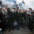 The Beatles arrive at New York's Kennedy Airport, 7 February, 1964 for their first US appearance. From left are: John Lennon, Paul McCartney, Ringo Starr and George Harrison. (AP Photo)