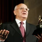 Here's an interesting trio: Former Soviet President Mikhail Gorbachev, former US President Bill Clinton, and actress Sophia Loren won a joint Grammy for providing the voices on the Russian folk tale Peter and the Wolf. (AP Photo/Manuel Balce Ceneta)