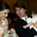 Tom Cruise, Katie Holmes and their daughter Suri in November 2006, just days before they married in Italy (AP Photo/Andrew Medichini)