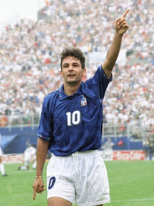 Roberto Baggio celebrates after his winning goal over Spain in the World Cup quarterfinal soccer match Italy against Spain at Foxboro Stadium in 1994.