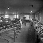 1922: Workmen in the patternmaking section manufacturing a wing skeleton for a Thomas-More MB-3 plane, intended for studies on pressure distribution in flight. (NASA Archives)