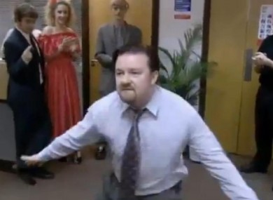 Ricky Gervais dances in the hit comedy 'The Office'