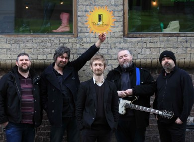 Divine Comedy frontman Neil Hannon (centre) and the band Pugwash at the launch of an album in aid of the Dublin Simon Community today.