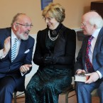 President Michael D Higgins and his wife Sabina pictured with Senator David Norris as he officially launched Bloomsday at the James Joyce centre in Dublin. 