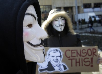 Activists protest against ACTA in Belgrade in February 2012. 
