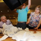 Ballot boxes are opened as the count in the Campaign for the European Fiscal Stability Treaty Referendum begins at the Dublin City count centre in CityWest. (Laura Hutton/Photocall Ireland)