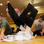 Ballot boxes are unopened as counting in the Campaign for the European Fiscal Stability Treaty Referendum begins at the Dublin City count centre in CityWest. (Laura Hutton/Photocall Ireland)