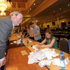 Labour TD Eric Byrne tallies as counting begins at the Dublin City count centre in CityWest. (Laura Hutton/Photocall Ireland)