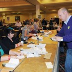 Sinn Fein's Daithi Doolan tallies as the count begins at the Dublin City count centre in CityWest. (Laura Hutton/Photocall) Ireland