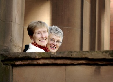 Ann Louise Gilligan (L) and Katherine Zappone outside the High Court in 2006