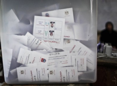A ballot box at a polling centre in Cairo.
