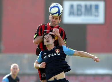 Bohs' Dave Mulcahy beats St Pat's Greg Bolger to a header during the sides' meeting at Dalymount Park.