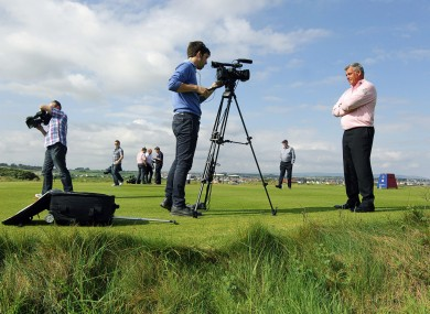 Darren Clarke speaks to the media on Royal Portrush's 15th hole.
