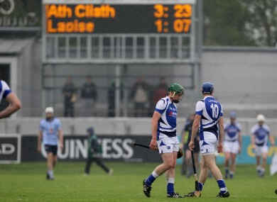 Laois players look dejected after a heavy beating