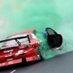 A car spins out during the Bavaria City Racing event in Dublin last Sunday (©INPHO/Dan Sheridan)