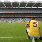 Wexford's Adrian Flynn watches the final moments of the drawn game against Longford from the sidelines. (©INPHO/Cathal Noonan)