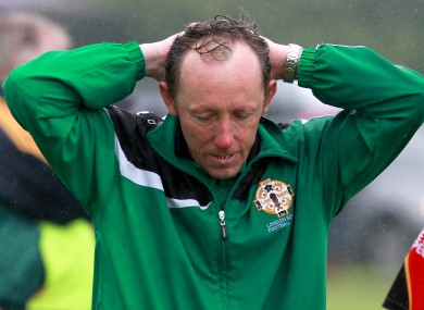London manager Paul Coggins shows his disappointment.