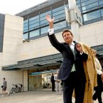 London Olympics 2012 Chairman Lord Coe waves to the crowds outside Croke Park.