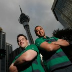 Declan Fitzpatrick and Simon Zebo, both of whom won their first caps for Ireland yesterday, pictured in front of the Sky Tower in downtown Auckland. (©INPHO/Billy Stickland)