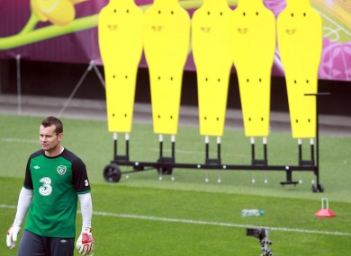 Goalkeeper Shay Given at the Municipal Stadium, Gdynia earlier.