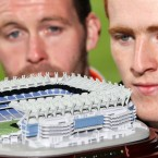 Ciaran McKeever of Armagh and Peter Harte of Tyrone get a closer look at the replica model of Croke Park, launched this week. (©INPHO/Cathal Noonan)