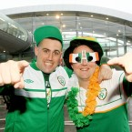 Conn Costello and Rory Dignam from Bray before their flight.