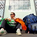 Conor Stagg from Sligo waits from the train to Poznan in the Berlin Hauptbahnhof after arrving from Sydney