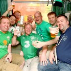 Irish fans enjoy the train trip between Berlin and Poznan.