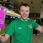 Ronan Davis from Knocklyon before departing for Poland with the three tickets for his friend Damian Coughlan who left them behind at Champion Sports in Dublin Airport this morning.