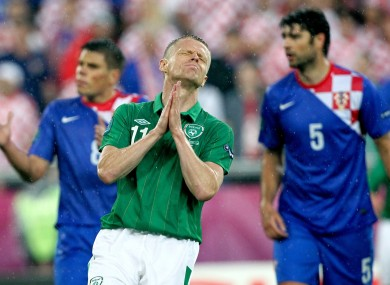 Damien Duff reacts to a missed chance.