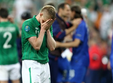 Damien Duff reacts to Ireland's defeat.