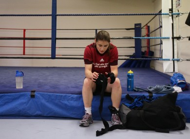 Katie Taylor takes a break from training in Bray Boxing Club yesterday.