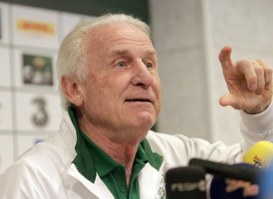 Ireland manager Giovanni Trapattoni in Gdynia today.