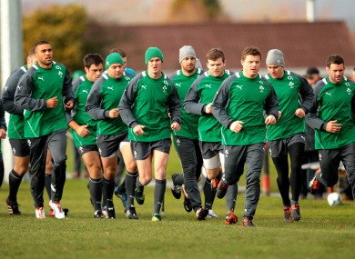 The Ireland squad are put through their paces.