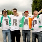 Frank Connolly, Fran Maloney, Mark Dawson and Paddy Flynn from Drumcondra, Dublin outside the Arena Gdansk. Pic: INPHO/James Crombie