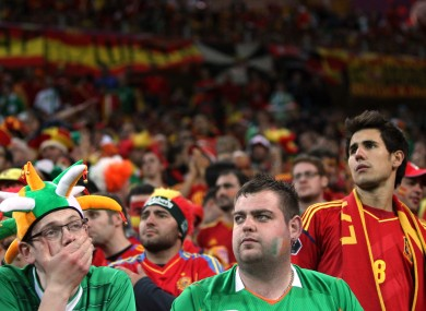 Dejected Irish fans among the Spanish section.