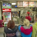 Staff and customers at Giulio's Fish and Chip on West Street Drogheda watch the Ireland v Spain game