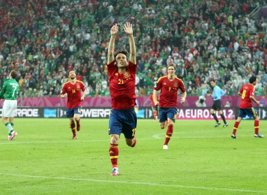 David Silva of Spain celebrates scoring his side's second goal.