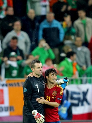 Shay given and David Silva embrace after the final whistle.