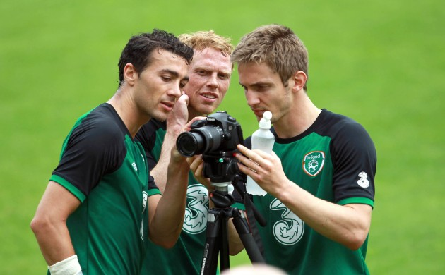 Stephen Kelly, Paul Green and Kevin Doyle take a photo at the end of training 16/6/2012