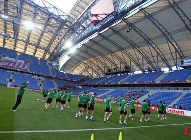The Irish squad train at the Municipal Stadium in Poznan yesterday.