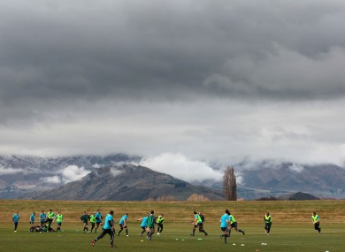Ireland rugby team in training in Queenstown, New Zealand.