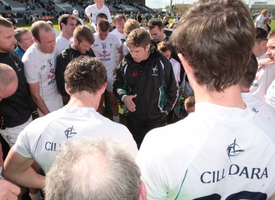 Kieran McGeeney talks to his Kildare panel.