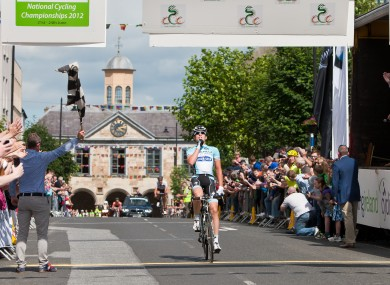 Matt Brammeier silences his critics as he crosses the line to win the national road race title yesterday.