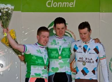 Brammeier (centre) with runner-up Nicolas Roche (right) and third-placed Philip Lavery.