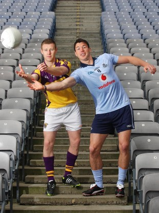 Wexford's Aindreas Doyle and Eamon Fennell of Dublin at Croke Park yesterday.