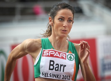 Ireland's Jessie Barr competes in the 400m hurdles earlier.